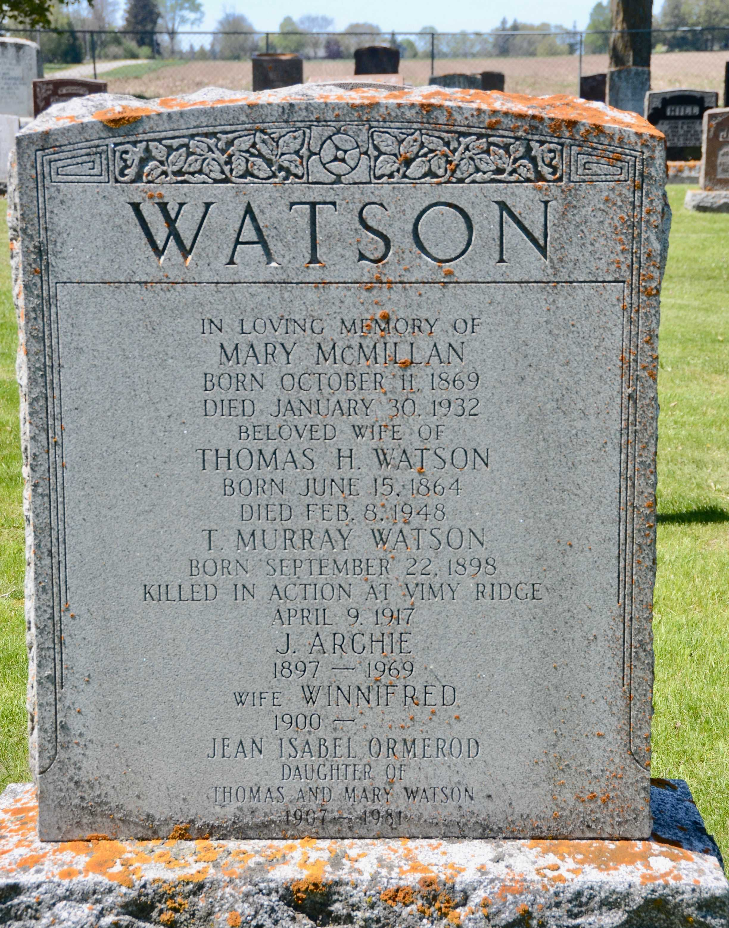 Family Headstone– Private Thomas Murray Watson is remembered on his family headstone in McNeil Cemetery, Brock Twp., Durham Region, Ontario.