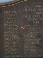 Cenotaph– Private William George Whittlesea is also commemorated on the WWI cenotaph in Orillia, ON … photo courtesy of Marg Liessens