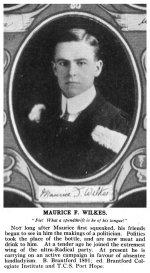 Photo of Maurice Fisken Wilkes– Torontonensis 1913 (University of Toronto Year Book), pg. 71.