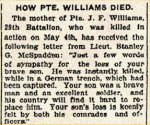 coupure de presse – Le numéro matricule exact pour le soldat Williams est 50108.