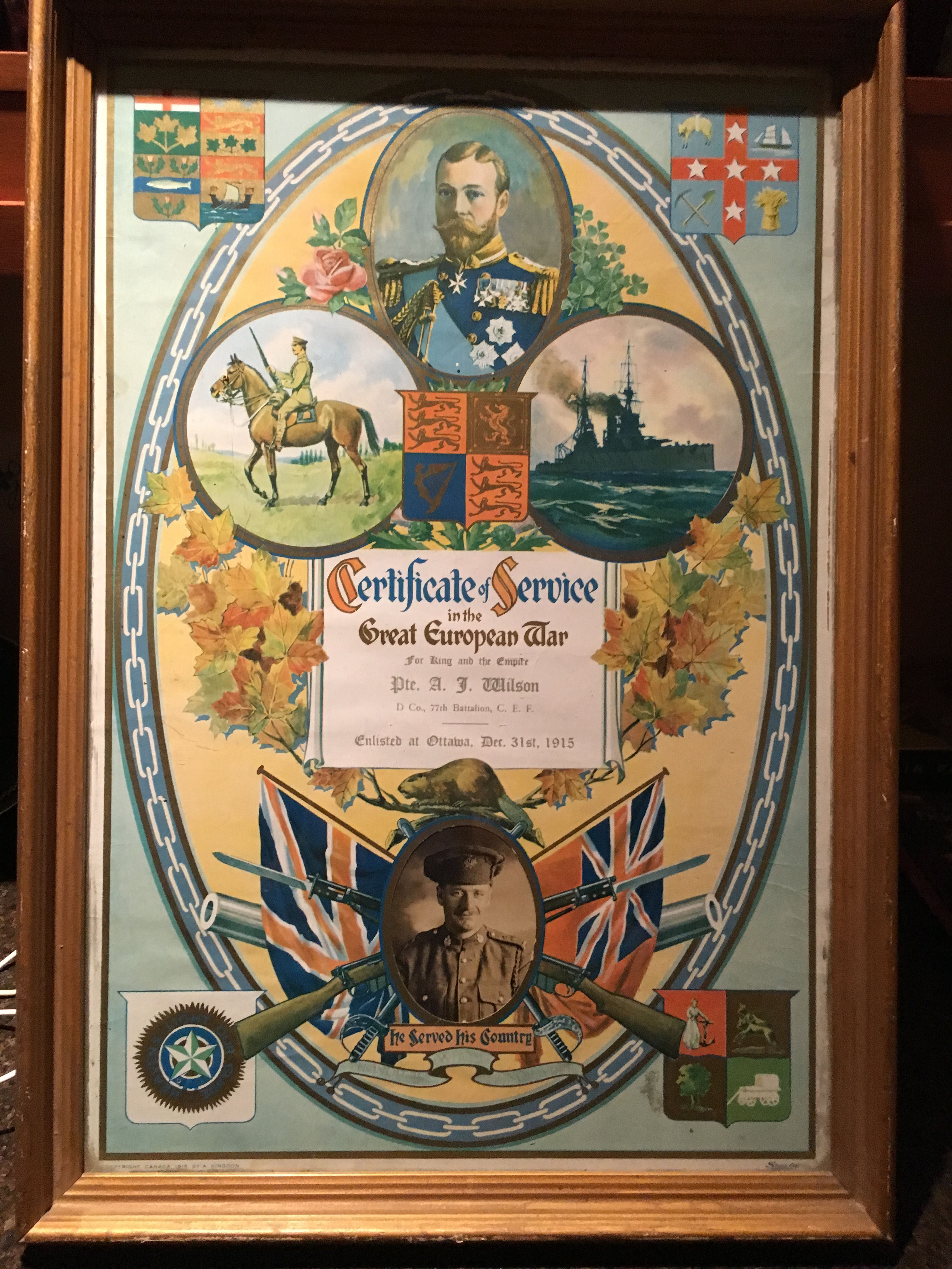 Certificate of Service for Private Albert J Wilson