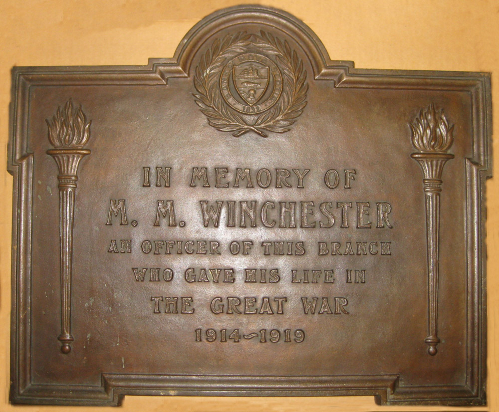 Memorial Plaque– War memorial 1921, Bloor & Spadina branch, Scotiabank