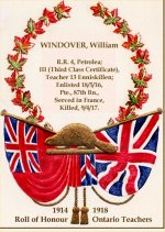 """Roll of Honour– """"This Roll of Honour has been prepared as a permanent tribute to those men of the teaching profession in Ontario, who enlisted in connection with the Great War.""""  Source:  The Roll of Honour of the Ontario Teachers Who Served in the Great War 1914-1918 (The Ryerson Press: Toronto, 1922).   The 1914-1918 Roll of Service for Ontario Teachers contains 851 names.  101 died as a result of their military service.  The information on this Honour Roll may differ from other sources as it was compiled by the Department of Education in Toronto, Ontario, from """"...varied and numerous sources, that mistakes are inevitable."""""""