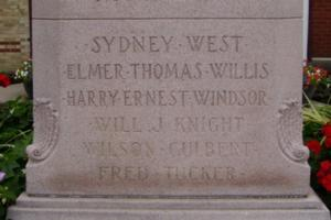 Cenotaph– Private Harry Ernest Windsor is also commemorated on the cenotaph in Exeter, ON … photo courtesy of Marg Liessens