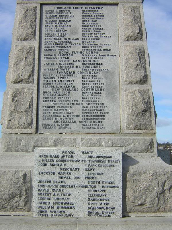 Inscription– Detail of Strathaven Memorial. Contributed by E. Edwards 18thbattalioncef.wordpress.com