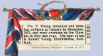 Newspaper Clipping– Pte. Thomas Young enlisted in Calgary, Alberta, on December 27th, 1915.  Young was born in Dunfermline, Scotland.  In honoured memory.