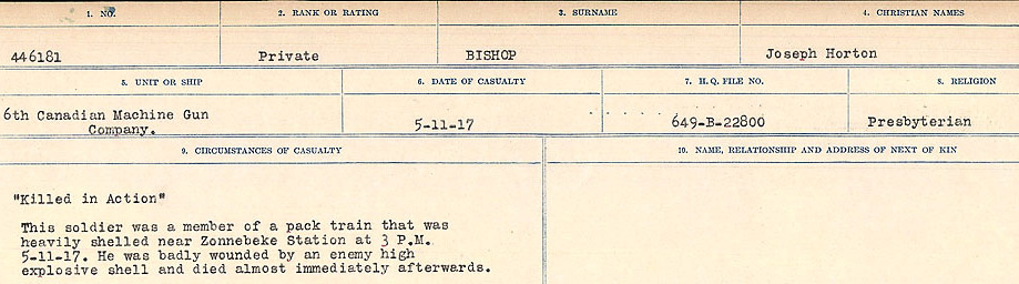 Circumstances of Death Registers– Source: Library and Archives Canada.  CIRCUMSTANCES OF DEATH REGISTERS FIRST WORLD WAR Surnames: Birch to Blakstad. Mircoform Sequence 10; Volume Number 31829_B034746; Reference RG150, 1992-93/314, 154 Page 223 of 734