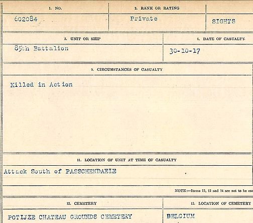 Circumstances of death registers– Private Carl Sights