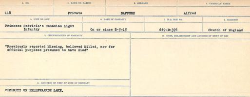 Circumstances of death registers– Source: Library and Archives Canada. CIRCUMSTANCES OF DEATH REGISTERS, FIRST WORLD WAR Surnames: Dack to Dabate. Microform Sequence 26; Volume Number 31829_B016735. Reference RG150, 1992-93/314, 170. Page 13 of 1140.