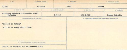 Circumstances of death registers– Source: Library and Archives Canada. CIRCUMSTANCES OF DEATH REGISTERS, FIRST WORLD WAR Surnames: Dack to Dabate. Microform Sequence 26; Volume Number 31829_B016735. Reference RG150, 1992-93/314, 170. Page 223 of 1140. Buried in common grave.