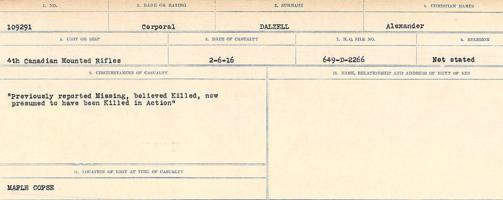 Circumstances of death registers– Source: Library and Archives Canada. CIRCUMSTANCES OF DEATH REGISTERS, FIRST WORLD WAR Surnames: Dack to Dabate. Microform Sequence 26; Volume Number 31829_B016735. Reference RG150, 1992-93/314, 170. Page 225 of 1140.