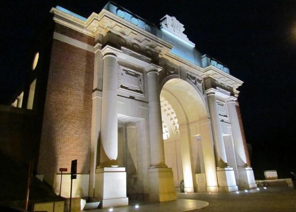 Menin Gate Memorial– Menin Gate Memorial after dark. Photo by Ken Riley