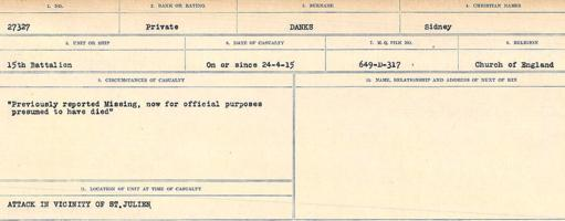 Circumstances of death registers– Source: Library and Archives Canada. CIRCUMSTANCES OF DEATH REGISTERS, FIRST WORLD WAR Surnames: Dack to Dabate. Microform Sequence 26; Volume Number 31829_B016735. Reference RG150, 1992-93/314, 170. Page 363 of 1140.