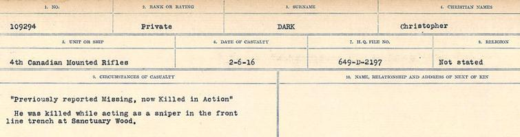 Circumstances of death registers– Source: Library and Archives Canada. CIRCUMSTANCES OF DEATH REGISTERS, FIRST WORLD WAR Surnames: Dack to Dabate. Microform Sequence 26; Volume Number 31829_B016735. Reference RG150, 1992-93/314, 170. Page 437 of 1140.  No record of burial.