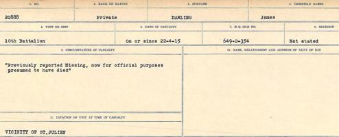 Circumstances of death registers– Source: Library and Archives Canada. CIRCUMSTANCES OF DEATH REGISTERS, FIRST WORLD WAR Surnames: Dack to Dabate. Microform Sequence 26; Volume Number 31829_B016735. Reference RG150, 1992-93/314, 170. Page 453 of 1140.