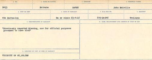 Circumstances of death registers– Source: Library and Archives Canada. CIRCUMSTANCES OF DEATH REGISTERS, FIRST WORLD WAR Surnames: Dack to Dabate. Microform Sequence 26; Volume Number 31829_B016735. Reference RG150, 1992-93/314, 170. Page 553 of 1140.
