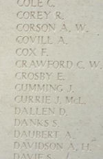 Memorial– Menin Gate panel where Private Archibald Davidson is commemorated.  Photo by BGen Young (ret) and submitted by Capt (ret) V Goldman of the 15th Bn Memorial Project.  DILEAS GU BRATH