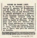 Newspaper Clipping– Pte. Davis' military attestation indicated that he was born in Jamaica. He enlisted at Barriefield, Ontario, on July 31st, 1915.