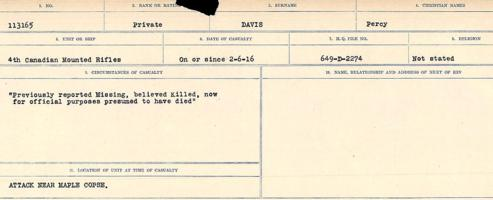 Circumstances of death registers– Source: Library and Archives Canada. CIRCUMSTANCES OF DEATH REGISTERS, FIRST WORLD WAR. Surnames: Dack to Dabate. Microform Sequence 26; Volume Number 31829_B016735. Reference RG150, 1992-93/314, 170. Page 1049 of 1140.