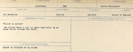 Circumstances of death registers– Source: Library and Archives Canada. CIRCUMSTANCES OF DEATH REGISTERS, FIRST WORLD WAR. Surnames: Davy to Detro. Microform Sequence 27; Volume Number 31829_B016736. Reference RG150, 1992-93/314, 171. Page 135 of 1036. Body not recovered for burial. His full name was Calvin Wellington Day.