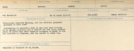 Circumstances of death registers– Source: Library and Archives Canada. CIRCUMSTANCES OF DEATH REGISTERS, FIRST WORLD WAR. Surnames: Davy to Detro. Microform Sequence 27; Volume Number 31829_B016736. Reference RG150, 1992-93/314, 171. Page 241 of 1036.