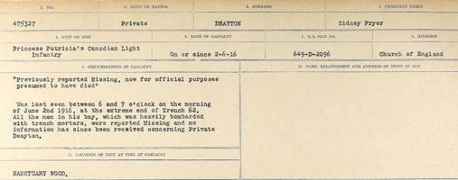 Circumstances of death registers– Source: Library and Archives Canada. CIRCUMSTANCES OF DEATH REGISTERS, FIRST WORLD WAR. Surnames: Davy to Detro. Microform Sequence 27; Volume Number 31829_B016736. Reference RG150, 1992-93/314, 171. Page 321 of 1036.