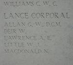 Inscription– Menin Gate memorial panel bearing the name of L/Cpl. W. E. Deir.