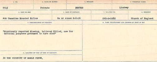 Circumstances of death registers– Source: Library and Archives Canada. CIRCUMSTANCES OF DEATH REGISTERS, FIRST WORLD WAR. Surnames: Davy to Detro. Microform Sequence 27; Volume Number 31829_B016736. Reference RG150, 1992-93/314, 171. Page 855 of 1036.