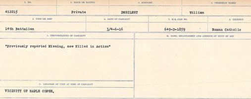 Circumstances of death registers– Source: Library and Archives Canada. CIRCUMSTANCES OF DEATH REGISTERS, FIRST WORLD WAR. Surnames: Davy to Detro. Microform Sequence 27; Volume Number 31829_B016736. Reference RG150, 1992-93/314, 171. Page 947 of 1036. No record of burial.