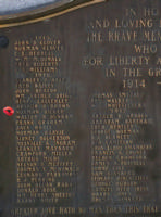 Cenotaph– Private Norman Dicker is also commemorated on the WWI cenotaph in Orillia, ON … photo courtesy of Marg Liessens