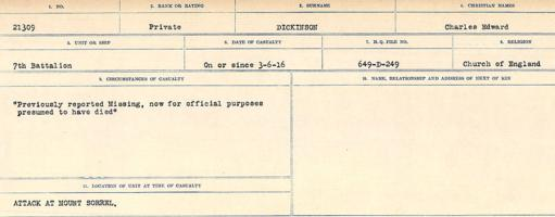 Circumstances of death registers– Source: Library and Archives Canada. CIRCUMSTANCES OF DEATH REGISTERS, FIRST WORLD WAR. Surnames: Deuel to Domoney. Microform Sequence 28; Volume Number 31829_B016737. Reference RG150, 1992-93/314, 172. Page 331 of 1084.