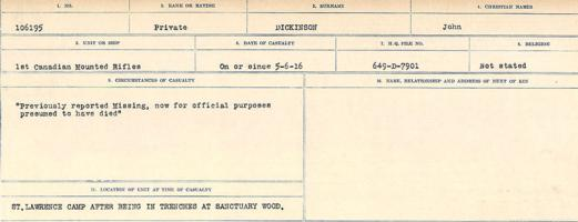 Circumstances of death registers– Source: Library and Archives Canada. CIRCUMSTANCES OF DEATH REGISTERS, FIRST WORLD WAR. Surnames: Deuel to Domoney. Microform Sequence 28; Volume Number 31829_B016737. Reference RG150, 1992-93/314, 172. Page 343 of 1084.