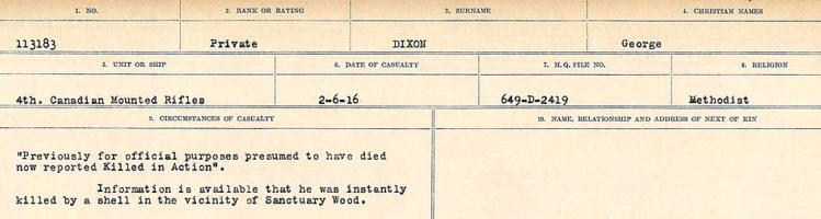 Circumstances of death registers– Source: Library and Archives Canada. CIRCUMSTANCES OF DEATH REGISTERS, FIRST WORLD WAR. Surnames: Deuel to Domoney. Microform Sequence 28; Volume Number 31829_B016737. Reference RG150, 1992-93/314, 172. Page 659 of 1084.