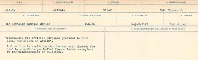 Circumstances of death registers– Source: Library and Archives Canada. CIRCUMSTANCES OF DEATH REGISTERS, FIRST WORLD WAR. Surnames: Deuel to Domoney. Microform Sequence 28; Volume Number 31829_B016737. Reference RG150, 1992-93/314, 172. Page 1025 of 1084.
