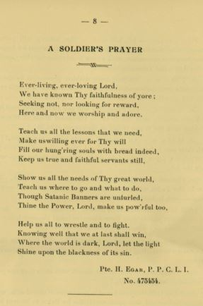 Poem– Poem written by Private Egar. Published in the Canadian Base Depot Rouelles Camp Magazine. Volume 2. October 1916. Page 8.