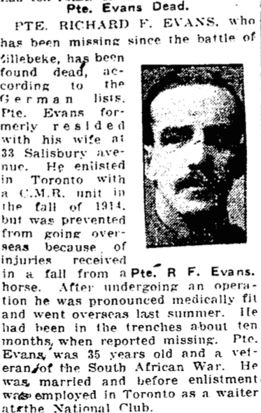 Photo of RICHARD FREDERICK EVANS– From the Toronto Star. Submitted for the project, Operation: Picture Me