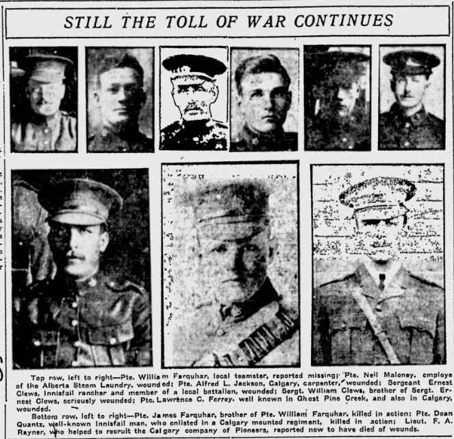 Newspaper Clipping– William top left, his brother James also KIA is shown bottom left. From the Calgary Herald. Submitted for the project, Operation: Picture Me