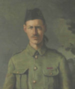 Portrait– Life-sized portrait of Fred Fisher VC, located in the library of Westmount High School, Westmount, Quebec.   The portrait is protected by glass and so is unfortunately subject to glare and reflections.