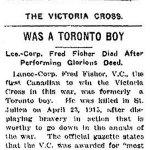 Newspaper Clipping– Newspaper article appearing in the Toronto Star in 1916 regarding Lance Corporal Fred Fisher's Toronto connections.