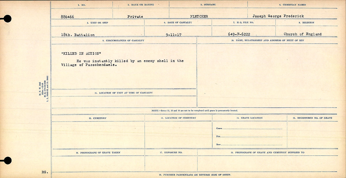 "Circumstances of Death Registers– ""Killed in Action"" He was instantly killed by an enemy shell in the Village of Passchendaele.