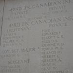 Inscription sur le Mémorial de la Porte de Menin (Ypres) – Photo fournie gracieusement par Sandi Neufeld.