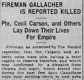 Newspaper clipping– Calgary Daily Herald June 28, 1916