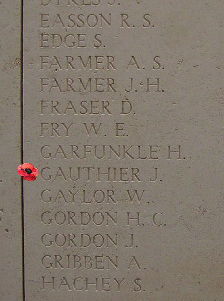 Photo of JAMES GAUTHIER– Inscription on the Menin Gate … photo courtesy of Marg Liessens