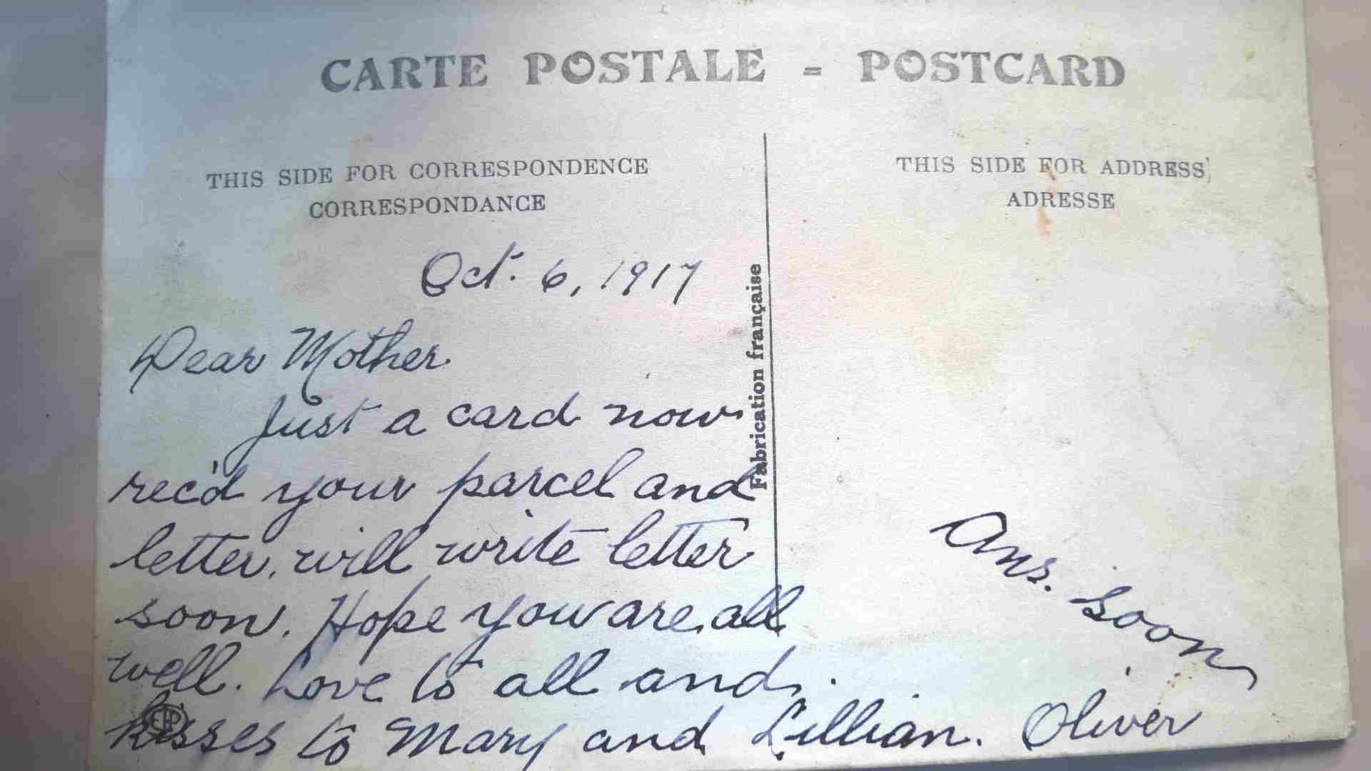 Post Card– Post card home to family one month before his death.