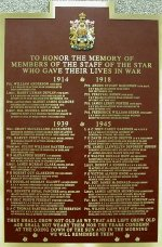 Memorial Plaque– This Memorial Plaque stands in the main entrance of the Toronto Star building on #1 Younge Street.