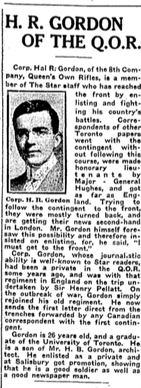 Newspaper Clipping– From the Toronto Star. Submitted for the project, Operation: Picture Me
