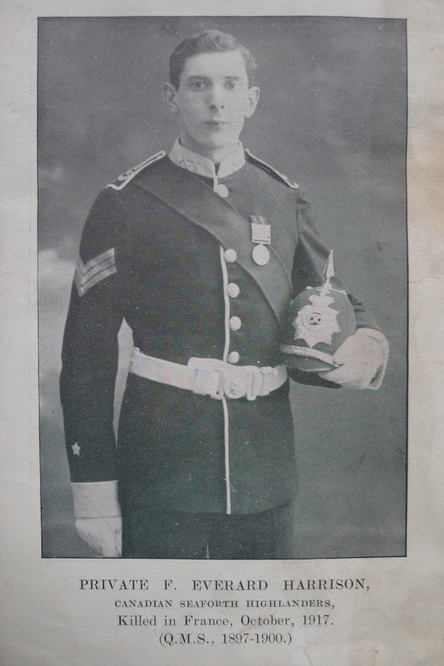 Photo of Francis Everard Harrison– As on the image - Private F Everard Harrison; Canadian Seaforth Highlanders; Killed October 1917