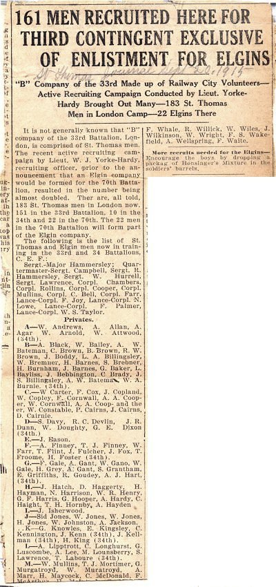 Press clipping - Enlistment