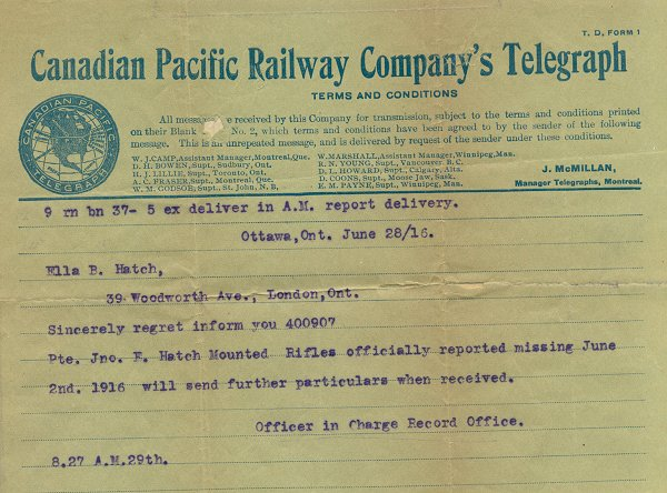 Telegram - June 28, 1916