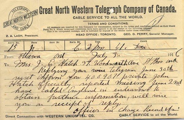 Telegram - July 3, 1916